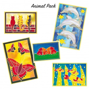 Carte à peindre en soie - Animal Pack 5 cartes