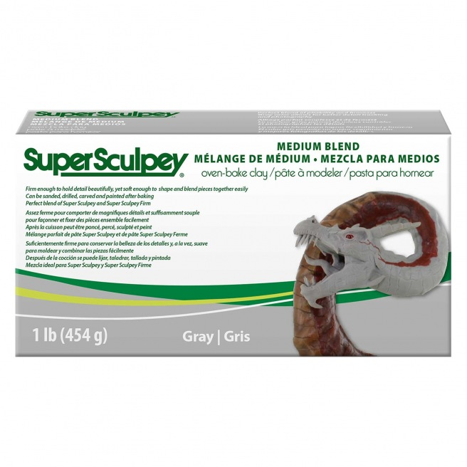 Pâte polymère Super Sculpey Medium Blend 454g, Gris