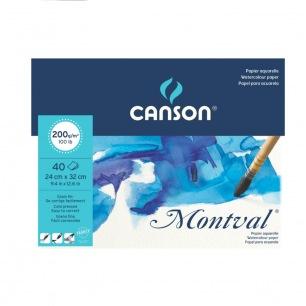 Bloc Canson® Montval - 200gr/m² - Grain fin - Grand côté collé